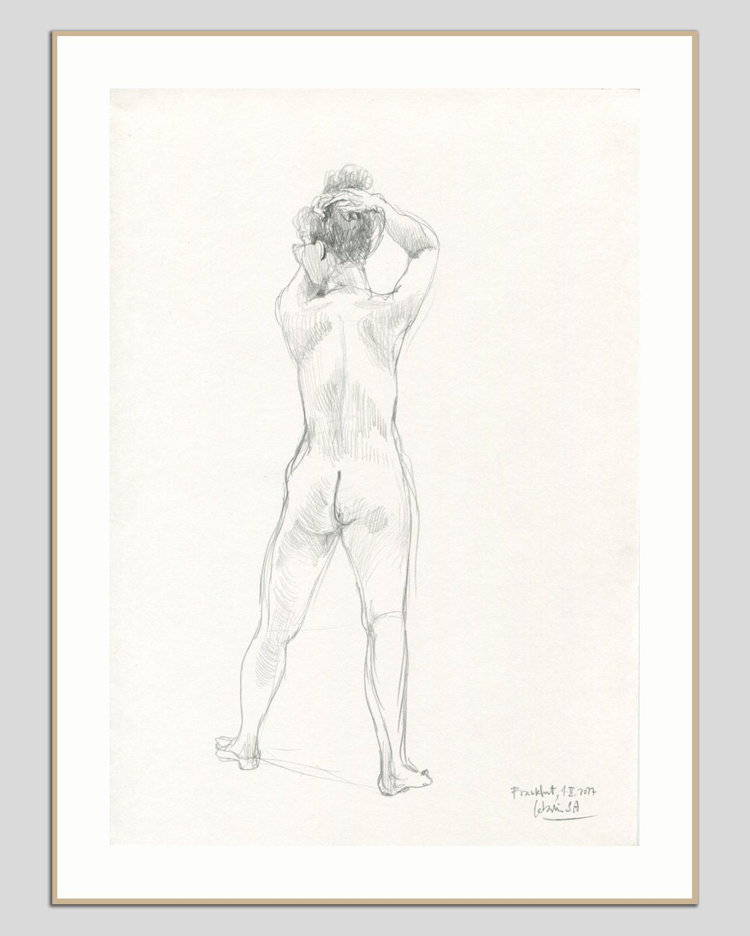 Dibujo Mujer Desnuda Lápiz Lápiz Original De Dibujo Original Etsy