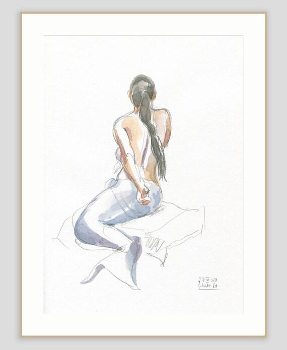 ähnliche Artikel Wie Meerjungfrau Die Zeichnung Original Aquarell