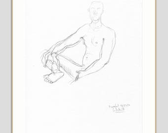pencil sketch ORIGINAL male nude - line drawing of a man - unfinished pencil drawing - THURSDAY NUDES - figure studies by Catalina