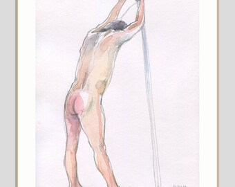 Male Nude watercolour ORIGINAL nude watercolor drawing of a man turned back - original figure studies by Catalina