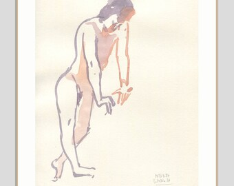 Male Nude watercolor ORIGINAL drawing of a man - watercolour nude drawing - minimalist male nudity - figure studies by Catalina