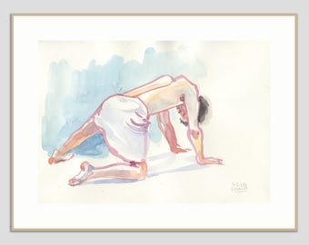 Watercolour Nude ORIGINAL male nude watercolor drawing - original man nudity figure studies by Catalina