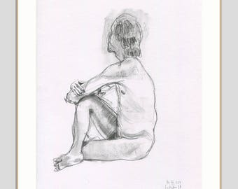 Male Nude ORIGINAL charcoal and pencil drawing of a nude man - charcoal graphite and pencil drawing - figure studies by Catalina