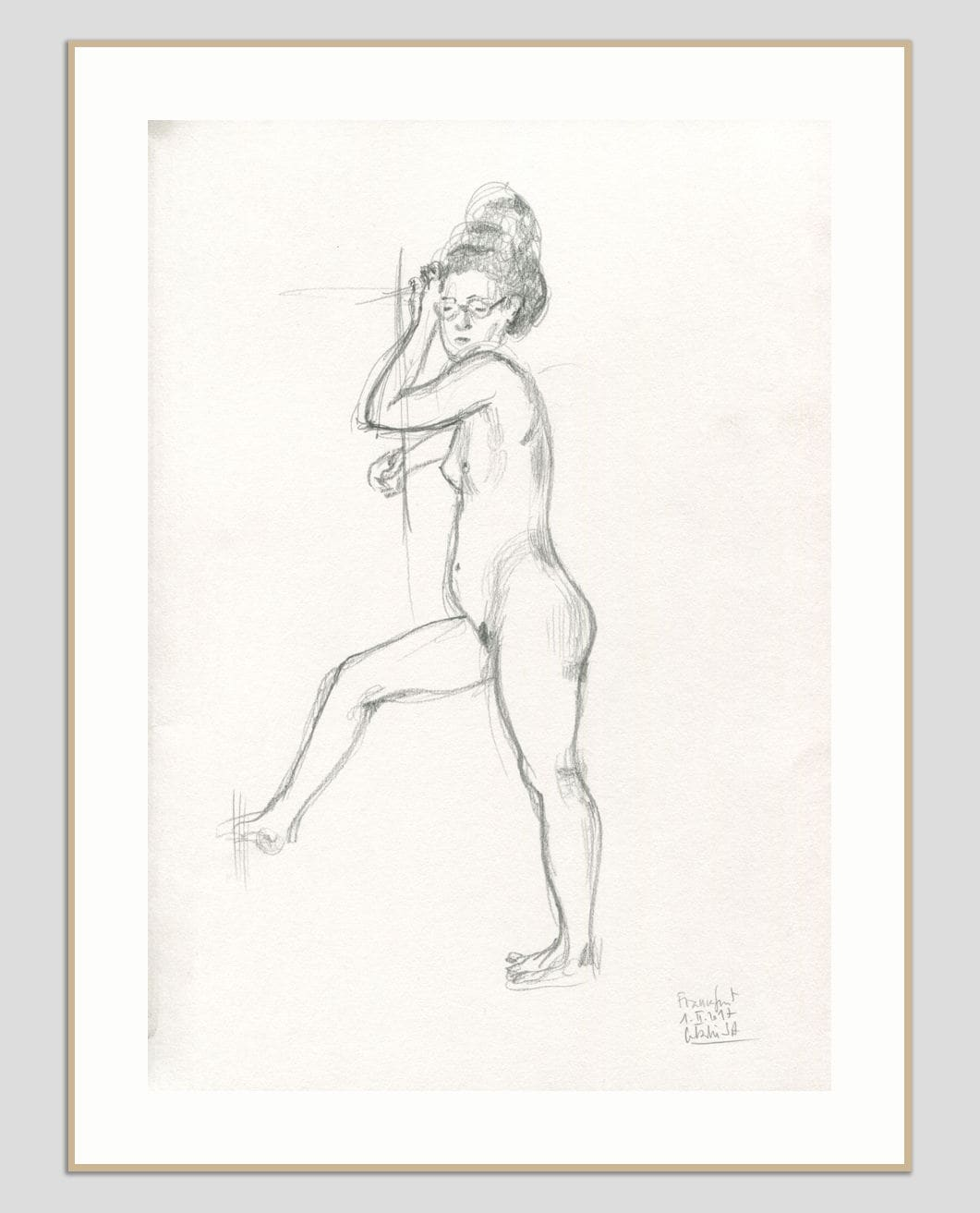 Nude pencil drawing original female pencil sketch realistic pencil nude drawing of woman figure studies by catalina