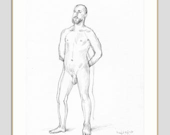Nude Pencil drawing ORIGINAL male nude - drawing of a man - graphite and pencil drawing - THURSDAY NUDES - figure studies by Catalina