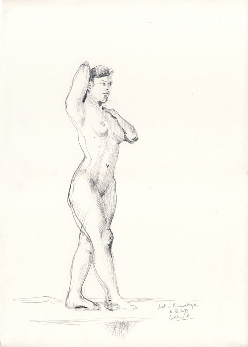 Female Nude N.14 Original female nude pencil drawing. Portrait image 0