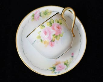 Vintage Nippon Hand Painted Porcelain Demitasse Coffee Cup and Saucer Set Pink Roses Small