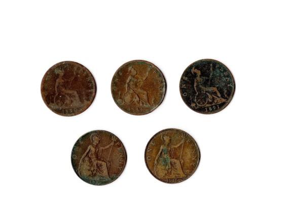 Antike Jahrgang Viel Große Bronze Cent Einen Cent Münzen Große Etsy