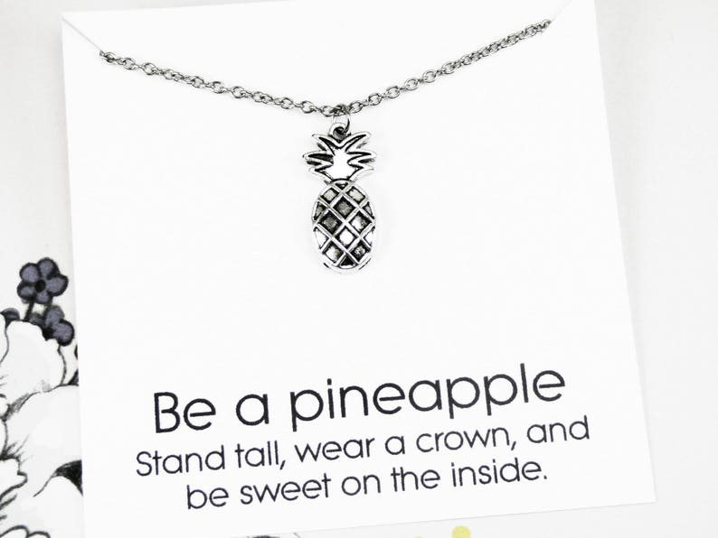 Pineapple Pendant Necklace silver pineapple jewelry image 0