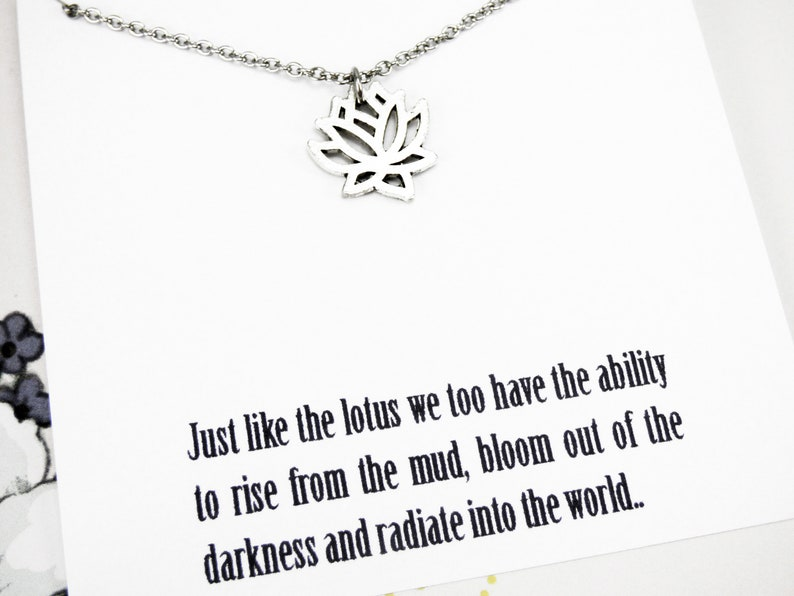 Lotus Flower Necklace Silver Strength Necklace Inspirational Etsy