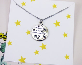 I Love You to the Moon and Back Necklace Gifts,i love you jewelry, inspirational necklace with meaning, meaningful jewelry, personalized