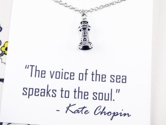 Silver Lighthouse Necklace, nautical jewelry, inspirational quotes, jewelry  with meaning, gifts with a message, jewelry inspirational words
