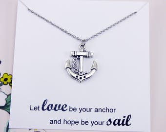 Silver Anchor Necklace, nautical jewelry, meaningful jewelry with meaning, homemade jewelry, inspirational necklace, travel necklace, gifts