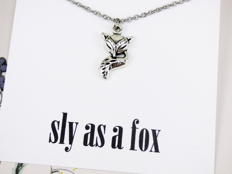 Fox Necklace, silver fox animal jewelry, inspirational necklace with  meaning, best friend presents, meaningful jewelry, gifts under 10