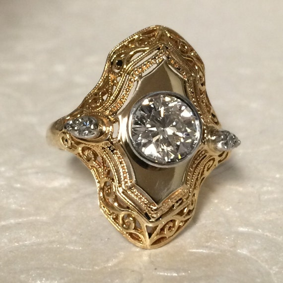 Victorian Style Cocktail Ring Gift For Wife 50th