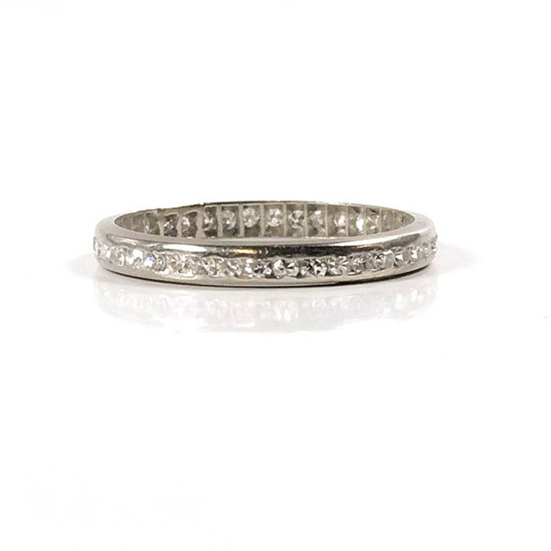 6d37dd5c29ace3 Vintage Platinum Eternity Ring Petite Diamond Wedding Band   Etsy