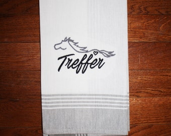 Personalized Horse Towel ~ Custom Horse Towel ~ Personalized Horse ~  Running Horse Kitchen Towel ~