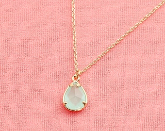 Gold Plated, Simple Mint Glass Stone Teardrop Framed Charm,  Necklace