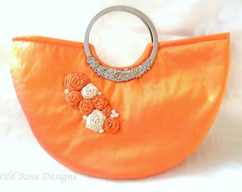 Orange silk Wedding/evening bag. Silk occasion bag.