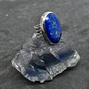Healing Crystals Talisman Solitaire Ring Lapis Ring Gift for Her, Lapis Lazuli Ring Healing Gemstones Lapis Solitaire Ring