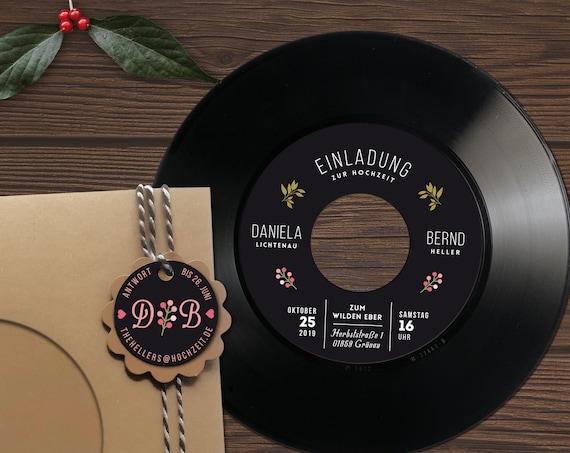 Hochzeitseinladungen aus echtem Vinyl | Personalisierte Einladungen aus Vinyl | Kraftpapier Musik-Hochzeit | Phonoboy