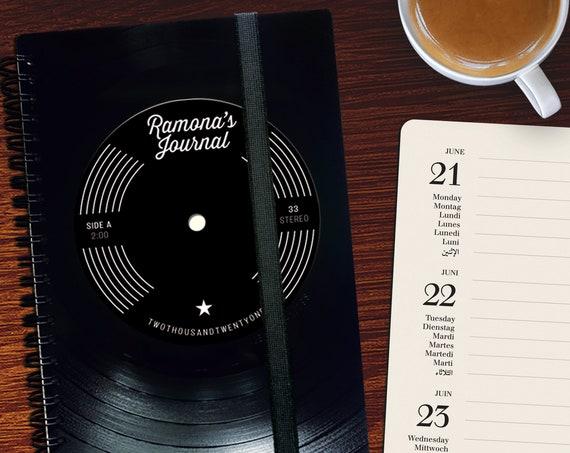 A5 Taschenkalender 2021 aus Vinyl | handgearbeitetes Notizbuch |
