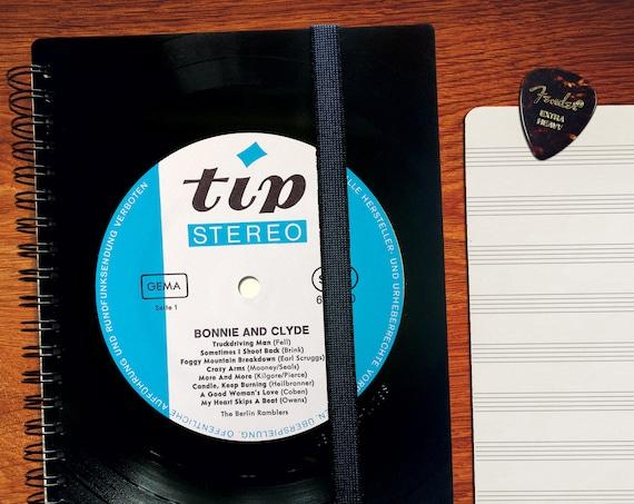 A5 Notenheft aus Schallplatte  | Notizbuch | liniert | kariert | blanko | Notenpapier | Kalender aus Vinyl | Spiralbindung
