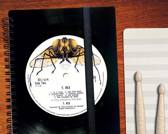 A5 Notizbuch aus Schallplatte  | Notenheft | liniert | kariert | Notenpapier | Kalender aus Vinyl | Spiralbindung | Phonoboy