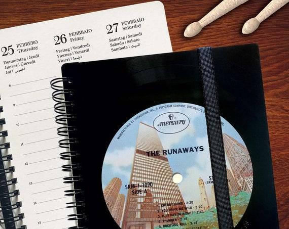 Terminkalender Din A5   aus einer Schallplatte   Notizbuch   Geschenk für Musikliebhaber   Vintage   Kalender 2021   Planer
