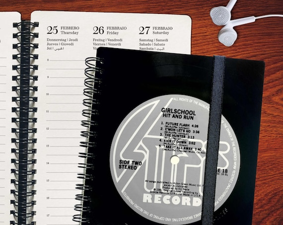 A5 Kalender 2021 aus echtem Vinyl | Upcyling Planer | A5 DJ Geschenk | Notizbuch kariertes Papier | Notenpapier | blanko Papier