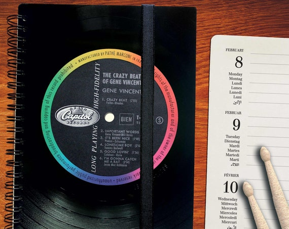 Vinyl Kalender 2021 | Notizbuch recycled aus echter Schallplatte| Geschenk für Musikliebhaber | Vintage | Taschenkalender | Wochenkalender