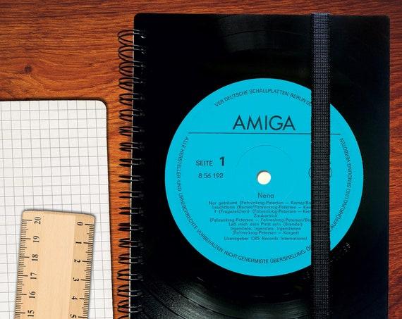 A5 Notizbuch kariert aus Vinyl | Notenheft | Musikliebhaber | Musikjunkie | liniertes blanko Buch aus Vinyl | Phonoboy