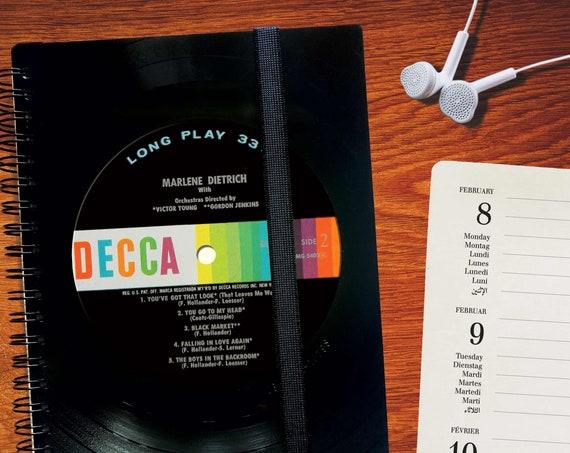 Taschenkalender 2021 aus echtem Vinyl handgearbeitet | A5 DJ Geschenk | Kalender | Notizbuch kariertes Papier | Notenpapier | blanko Papier