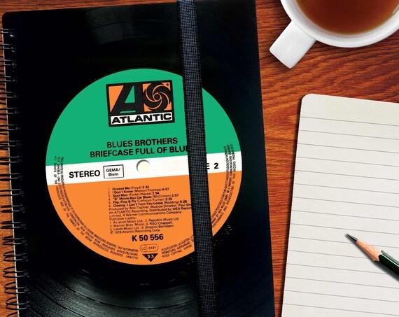 A5 Notizbuch aus Schallplatte  | Tagebuch | liniert | kariert | Notenpapier | Kalender aus Vinyl | Spiralbindung