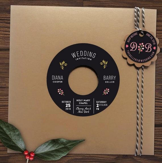 Einladungen zur Hochzeit aus echter Schallplatte | Personalisierte Hochzeitseinladungen aus Vinyl | Kraftpapier Hochzeitskarte | Phonoboy