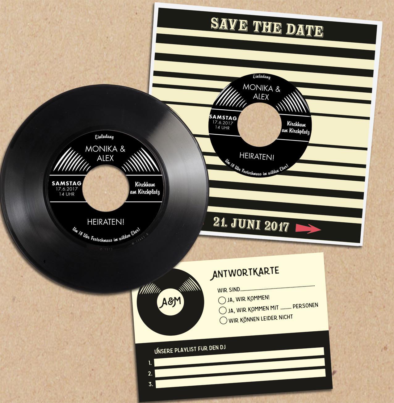 Einladungen zur hochzeit aus schallplatte hochzeitskarte einladungen aus vinyl phonoboy