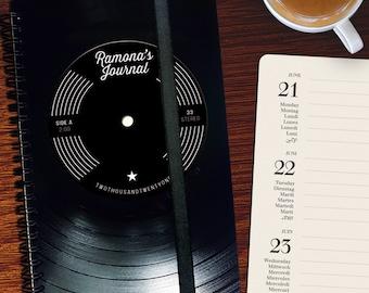 A5 Notebook made from Vinyl handmade | custom DJ Gift | Music Gift - Notebook lined - Notebook graph paper -  music sheets | blanc paper