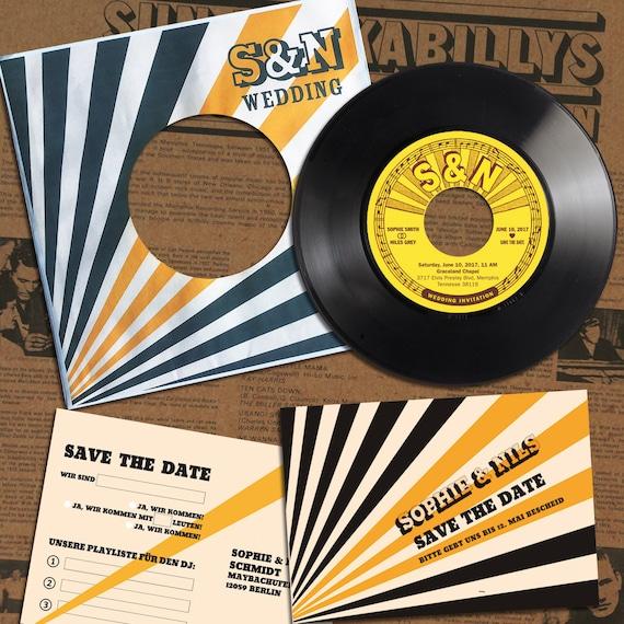 Einladung Rockabilly Hochzeit Schallplatte Hochzeitskarte | Phonoboy
