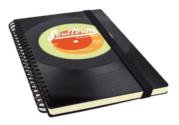 Personalisiertes Notizbuch aus Vinyl - Originelles Notizbuch aus Schallplatte | Personalisiertes Tagebuch | Notizbuch für Musik Liebhaber |