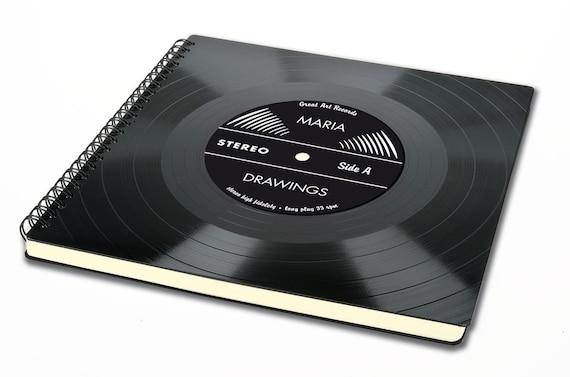 Personalisiertes Skizzenheft aus Schallplatte | Geschenk für Künstler | Skizzenbuch für Zeichnungen | Notizbuch blanko Seiten | Phonoboy