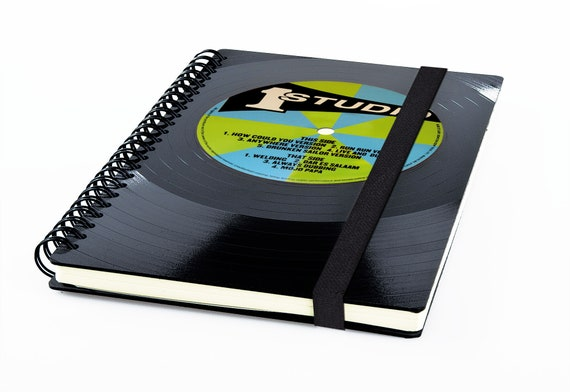 A5 Schallplatten Kalender 2020  | Recycling Notizbuch | Geschenk für Freund | Taschenkalender aus Vinyl | Planer | Spiralbindung
