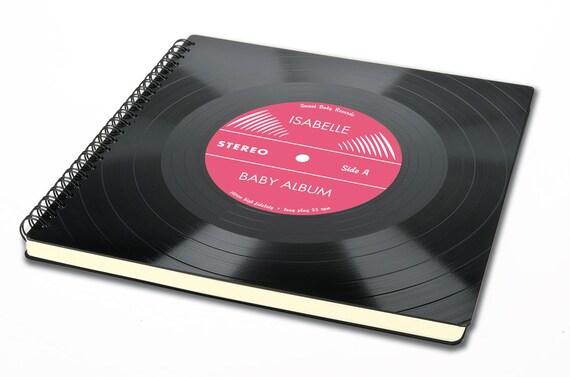 Personalisierbares rosa Baby Album | Taufgeschenk aus Schallplatte | Tagebuch | Geschenk zur Geburt | Baby Shower Geschenk | Geschenk Taufe