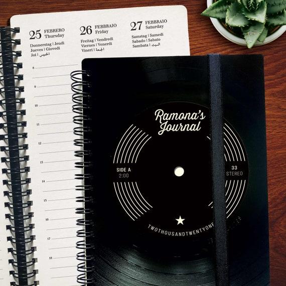 Personalisierter Planer 2021 aus  Schallplatte | Notizbuch | Geschenk für Musikliebhaber | Vintage | Taschenkalender | Wochenplaner