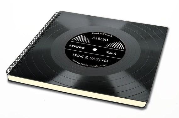 Personalisiertes Gästebuch / Skizzenbuch aus Schallplatte | Phonoboy
