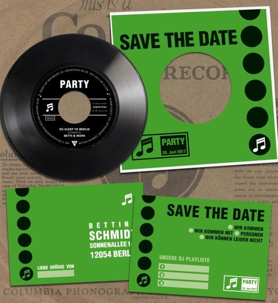 Einladung Geburtstagsparty aus Schallplatte | Personalisierte Einladungskarten | Einladung 20. 30. 40. 50. Geburtstag aus Vinyl | Party