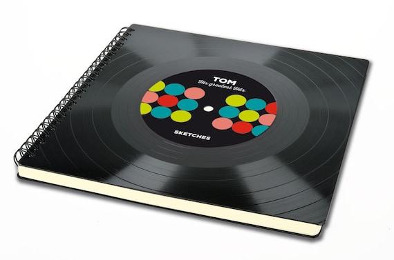 Personalisiertes Skizzenbuch aus Schallplatte | Alternatives Skizzenbuch | Geschenk Freund | Geschenk Künstler | Skizzenheft | Zeichenmappe