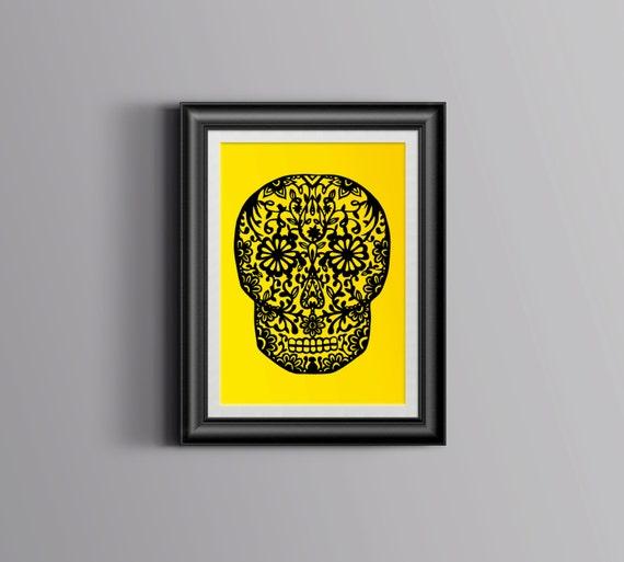 Papercut Sugar Skull unframed paper cut out wall art
