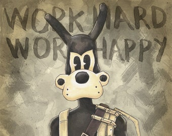 Bendy And The Ink Machine Boris The Wolf Chapter 4 Poster Print By Chris Oz Fulton