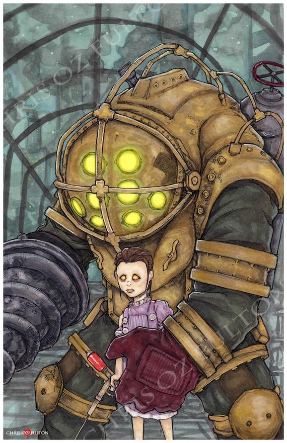 Bioshock Big Daddy Little Sister Video Game Poster Art Print By Chris Oz Fulton