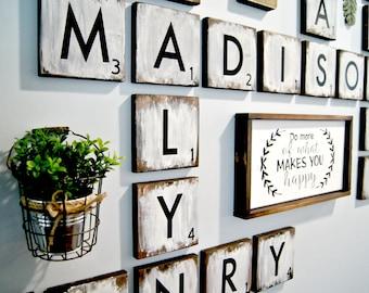 large scrabble tiles 55 wood tiles blocks scrabble tile wall art farmhouse style decor personalized sign wood letter